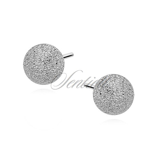 Silver (925) earrings diamond-cut balls 5mm