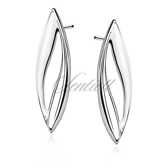 Silver (925) earrings elegant high polished with satin