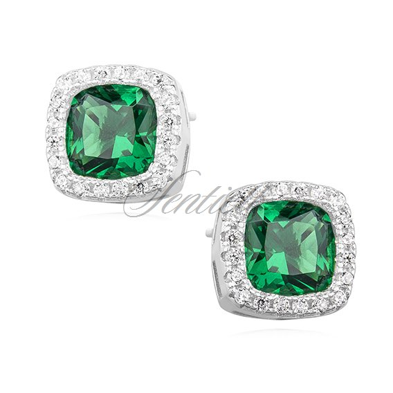 Silver (925) earrings emerald colored zirconia rounded square