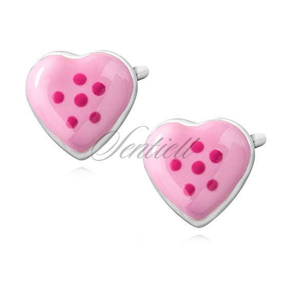 Silver (925) earrings - enamelled hearts