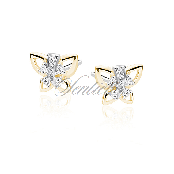 Silver (925) earrings - gold-plated butterfly