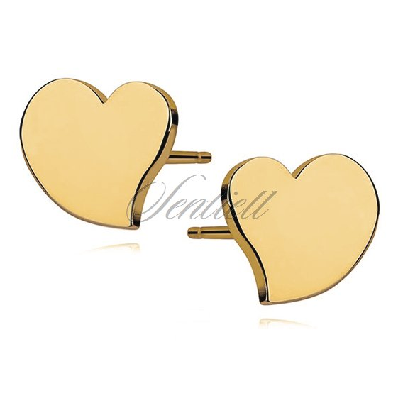 Silver (925) earrings - gold-plated hearts