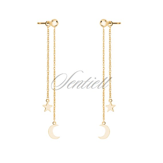 Silver (925) earrings - gold-plated moon and star