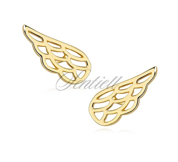 Silver (925) earrings - gold-plated wings