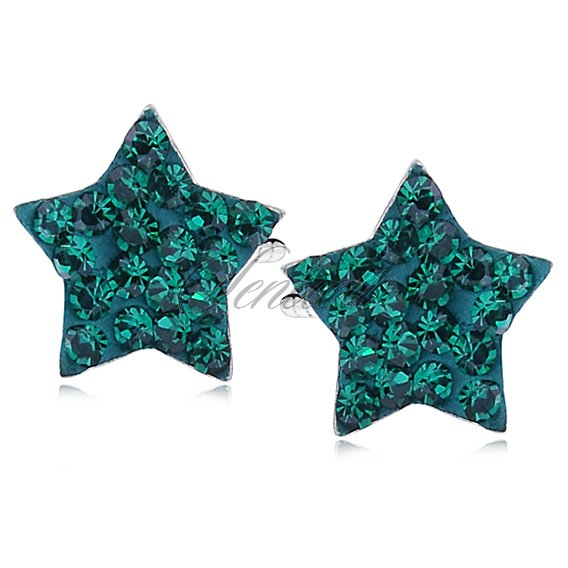 Silver (925) earrings green stars