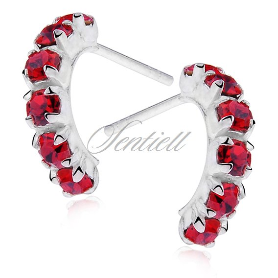 Silver (925) earrings half circles - red zirconia