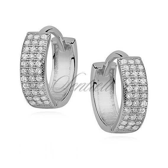 Silver (925) earrings hoop with three rows of zirconia