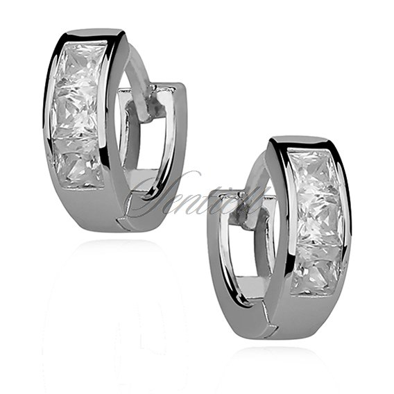 Silver (925) earrings hoop with zirconia