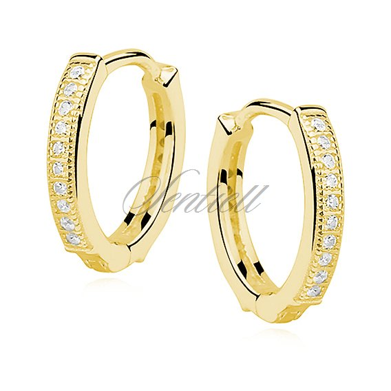 Silver (925) earrings hoop with zirconia, gold-plated