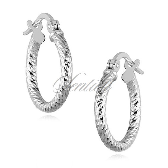 Silver (925) earrings hoops - highly polished, diamond-cut