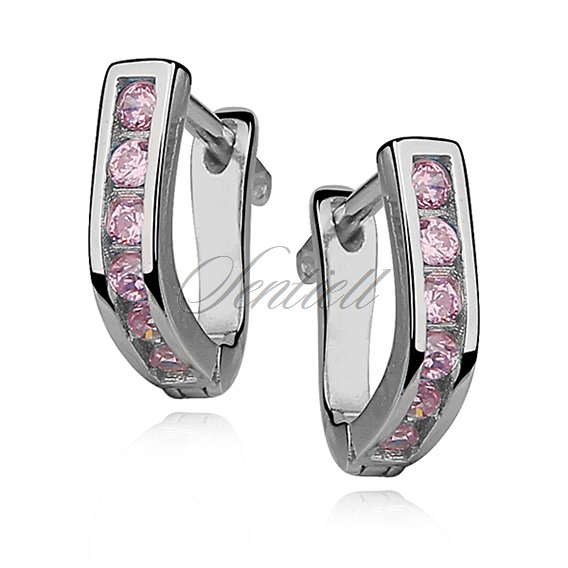 Silver (925) earrings light pink zirconia