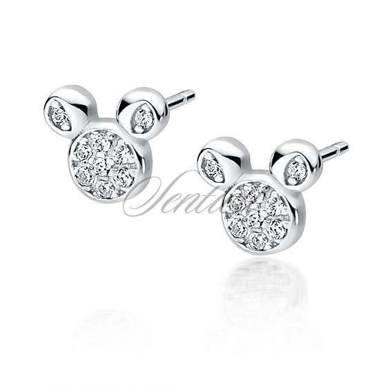 Silver (925) earrings mouse with zirconia