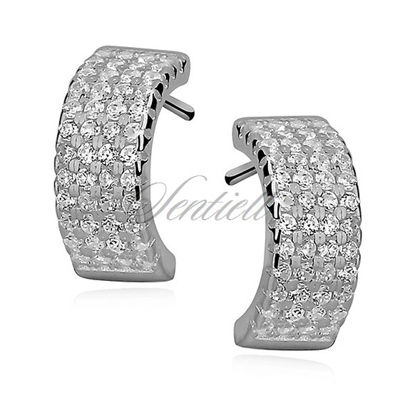 Silver (925) earrings open hoop with zirconia