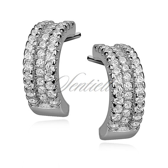 Silver (925)earrings open hoop with zirconia