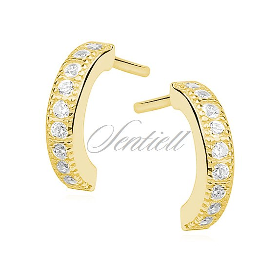 Silver (925)earrings open hoop with zirconia, gold-plated