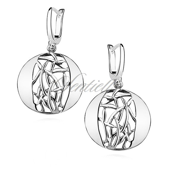 Silver (925) earrings openwork, round