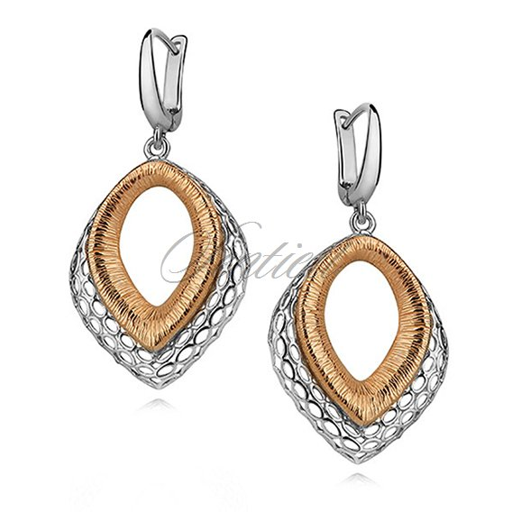 Silver (925) earrings - openwork with gold-plated element