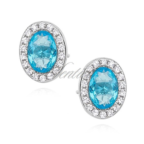 Silver (925) earrings oval with aquamarine zirconia