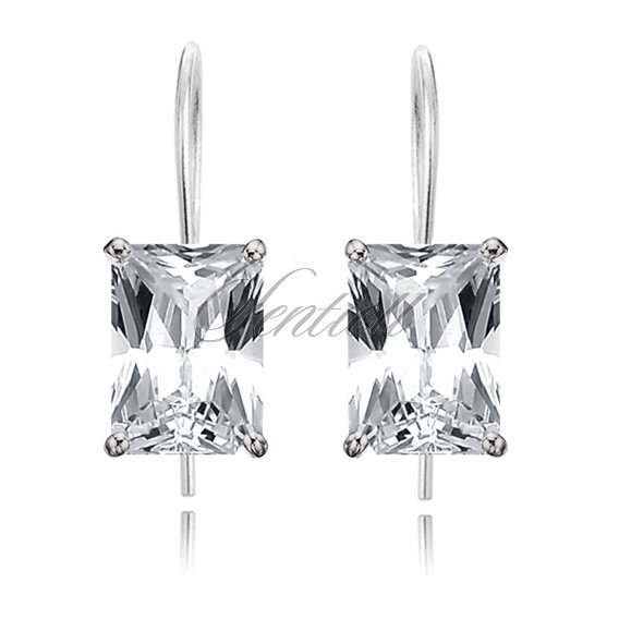 Silver (925) earrings rectangular white zirconia 12mm x 10mm