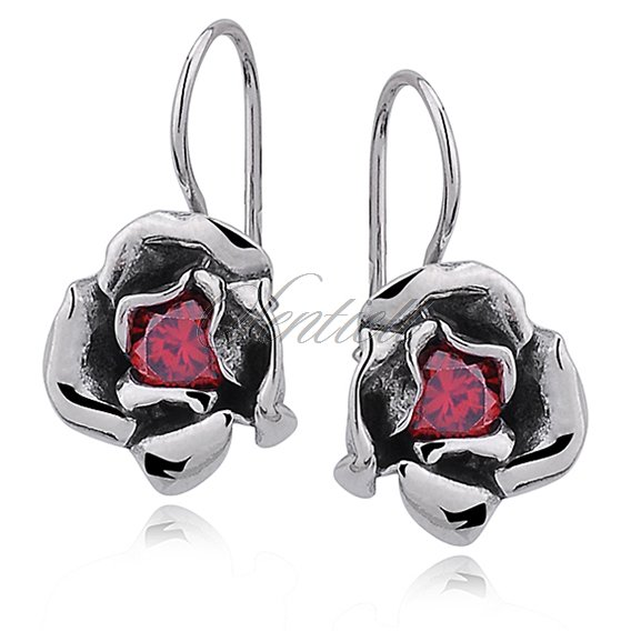 Silver (925) earrings red zirconia flowers