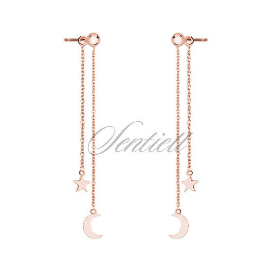 Silver (925) earrings - rose gold-plated moon and star