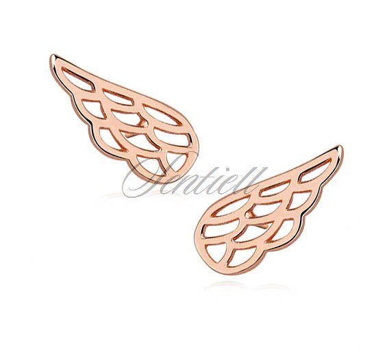 Silver (925) earrings - rose gold-plated wings