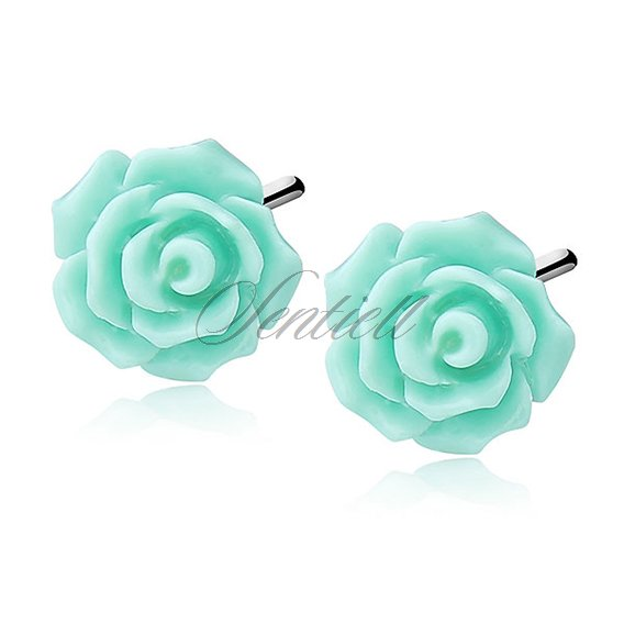 Silver (925) earrings roses - medium turquoise