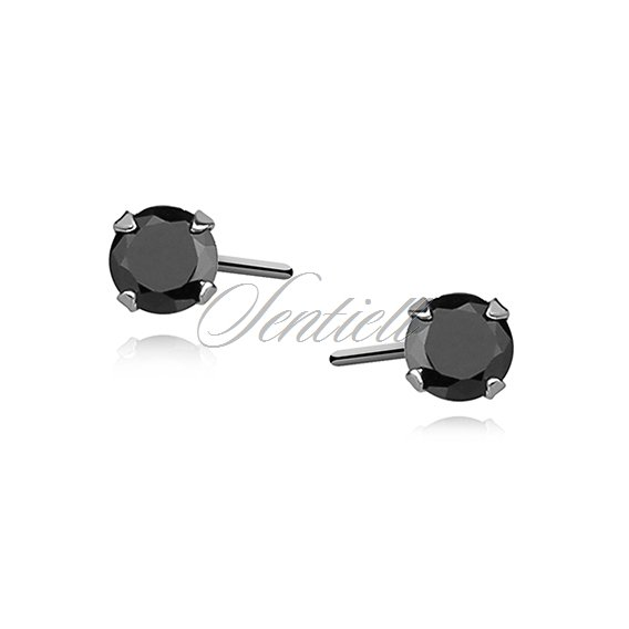 Silver (925) earrings round black zirconia diameter 3mm