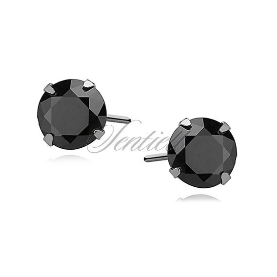 Silver (925) earrings round black zirconia diameter 5mm