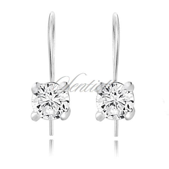 Silver (925) earrings round white zirconia diameter 3mm