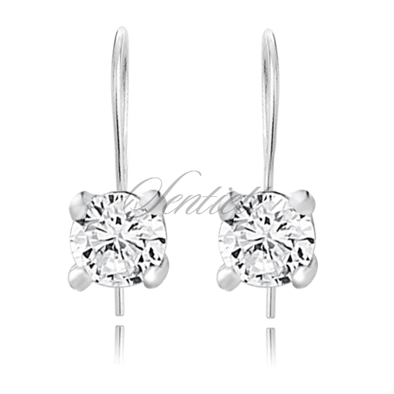 Silver (925) earrings round white zirconia diameter 4mm