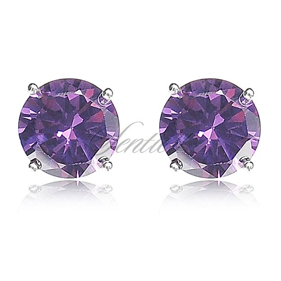 Silver (925) earrings round white zirconia diameter 6mm violet