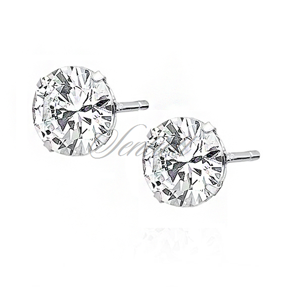 Silver (925) earrings round white zirconia diameter 7mm