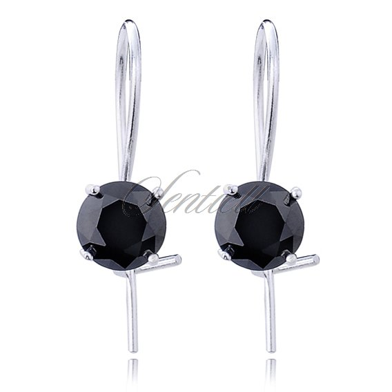 Silver (925) earrings round zirconia diameter 6mm black