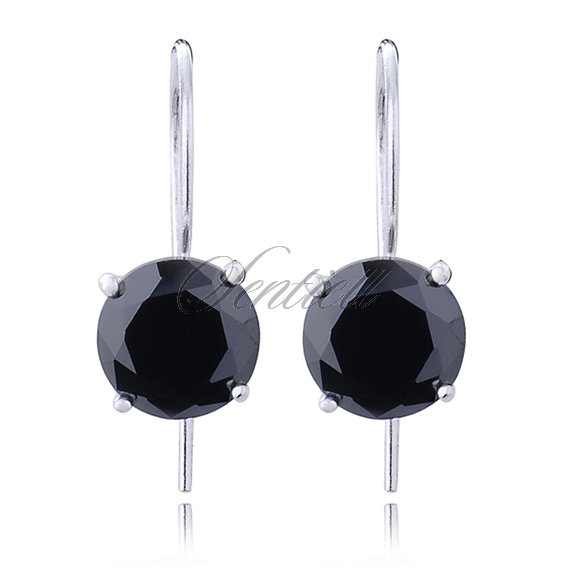 Silver (925) earrings round zirconia diameter 8mm black