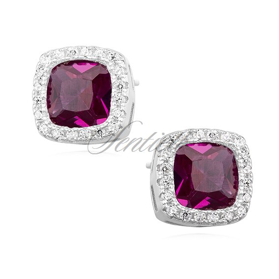 Silver (925) earrings ruby colored zirconia rounded square