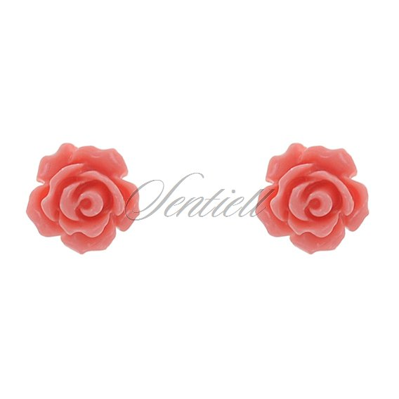 Silver (925) earrings - salmon colored rose