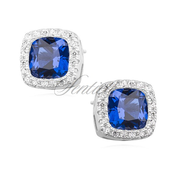 Silver (925) earrings sapphire colored zirconia rounded square