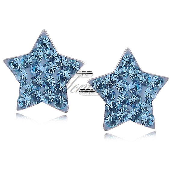 Silver (925) earrings sea blue stars