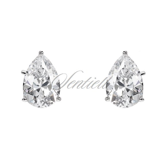Silver (925) earrings tear-shaped white zirconia 7 x 9mm