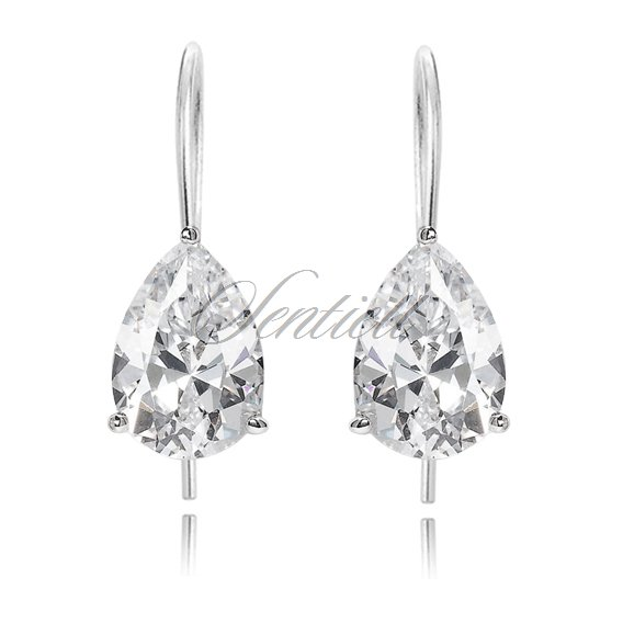Silver (925) earrings tear-shaped white zirconia 8 x 10mm