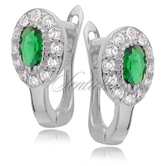 Silver (925) earrings white and green