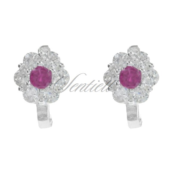 Silver (925) earrings white and pink zirconia flowers
