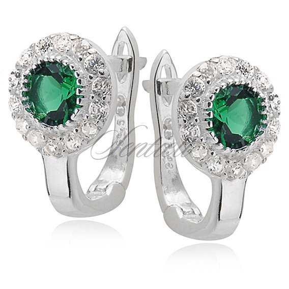 Silver (925) earrings white & green zirconia flowers