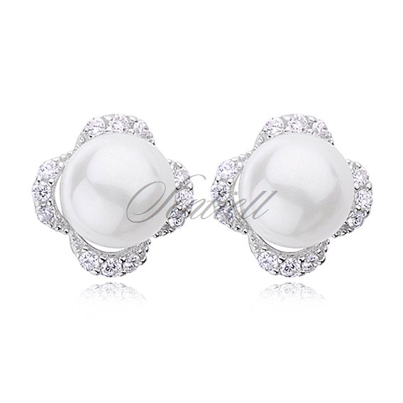 Silver (925) earrings white pearl with zirconia