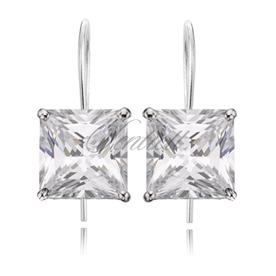 Silver (925) earrings white zirconia 10 x 10mm