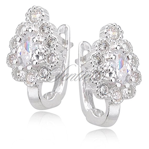 Silver (925) earrings white zirconia