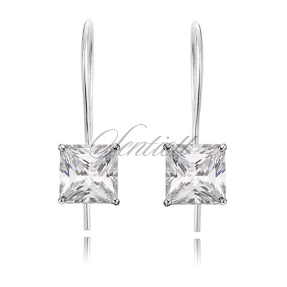 Silver (925) earrings white zirconia 4 x 4mm
