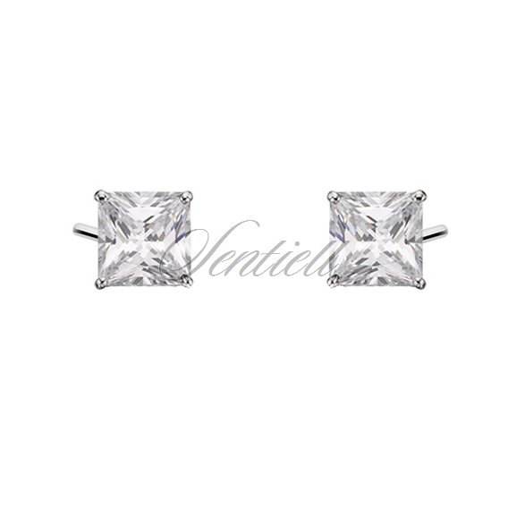Silver (925) earrings white zirconia 5 x 5mm