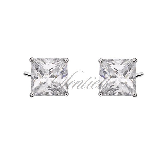 Silver (925) earrings white zirconia 6 x 6mm
